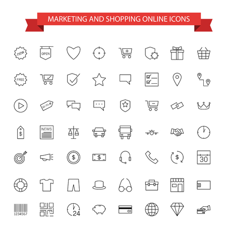 marketing online: marketing and shopping online icons
