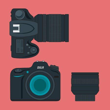 slr camera: vector SLR camera and lens icon flat style