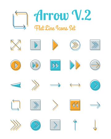 score board: vector arrow icons set flat line style