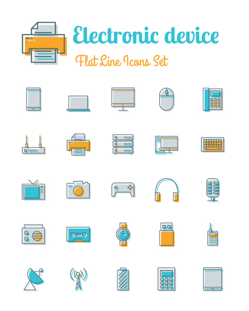 electronic device: vector electronic device icons set flat line style