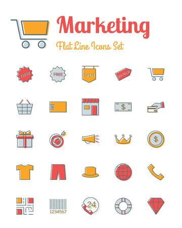 clothing stores: vector marketing  icons set flat line style Illustration