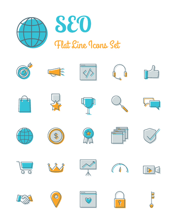 response time: vector seo icons set flat line style