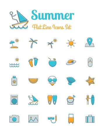 sun block: vector summer  icons set flat line style