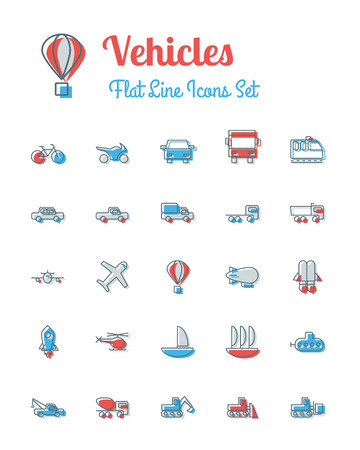 monorail: vector vehicles icons set flat line style