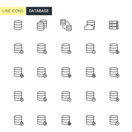 cylinder lock: Vector set database line icons Illustration
