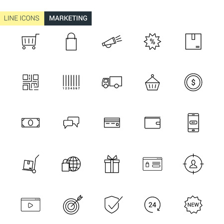 event icon: Vector set marketing line icons