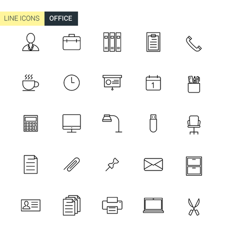 typing machine: Vector set office line icons Illustration
