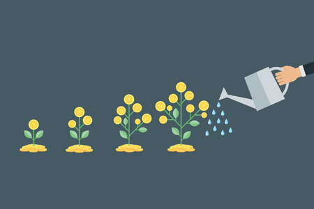 Vector business growth concept. ,hand with can watering money tree Illustration