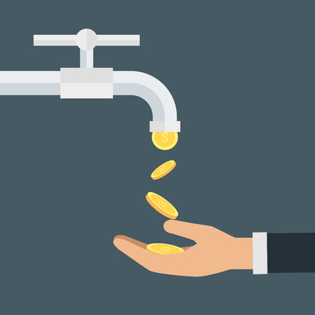 Vector income concept,coins fall out of the water tap Ilustrace
