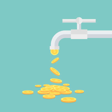water tap: Vector income concept,coins fall out of the water tap Illustration