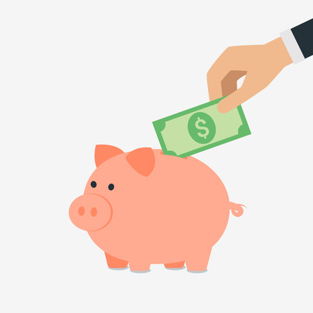 Vector saving money concept,hand put money into piggy bank