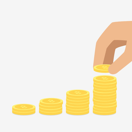 put: Vector saving money concept,hand put coin to stack of coins Illustration