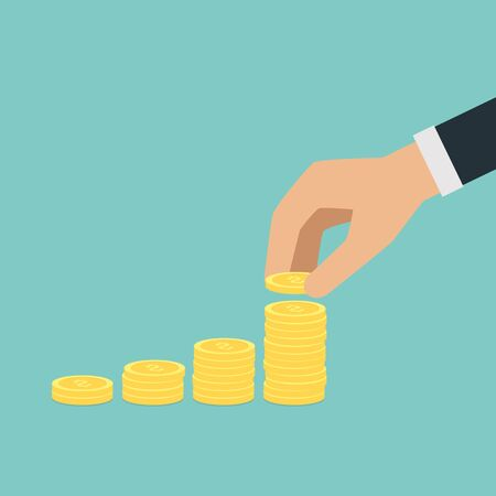 money stack: Vector saving money concept,hand put coin to stack of coins Illustration