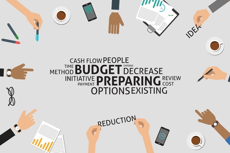 cost reduction: vector budget preparing concept,template Illustration