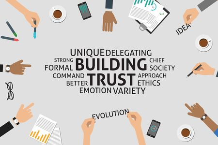 building trust: vector building trust concept,template