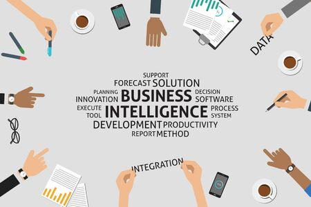 productivity system: vector business intelligence concept,template