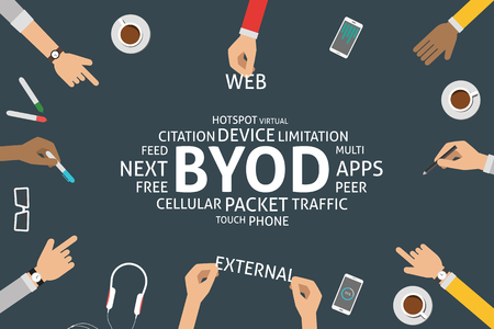 peer: vector BYOD concept,template