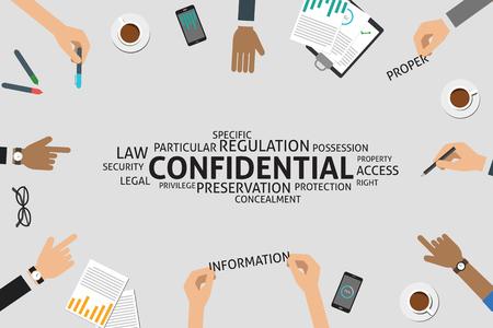 privilege: vector confidential concept,template Illustration