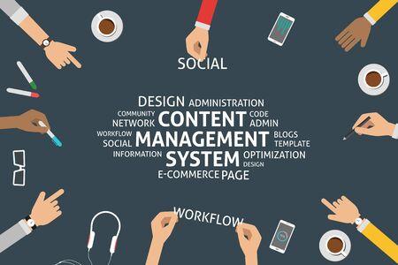 vector content management system concept,template