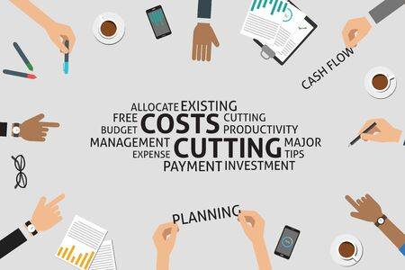 cutting costs: vector costs cutting concept,template