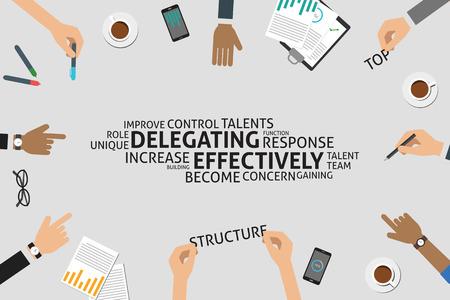 effectively: vector delegating effectively concept,template Illustration