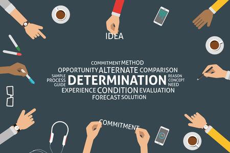 determination: vector determination concept,template