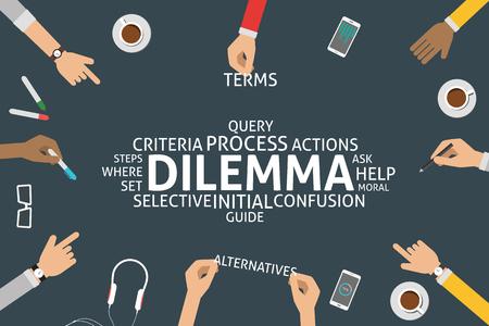 dilemma: vector dilemma concept,template Illustration