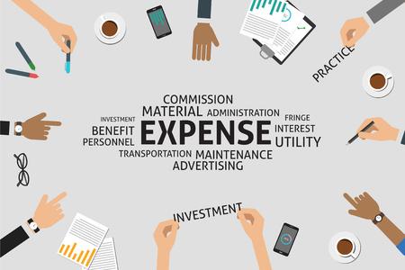 fringe benefit: vector expense concept,template