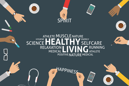 autocuidado: vectorial concepto de vida saludable, plantilla