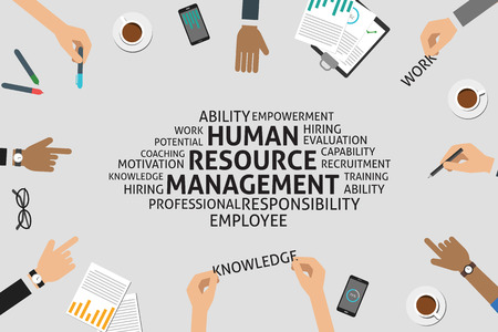 resource management: vector human resource management concept,template