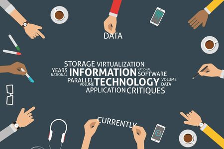 virtualization: vector information technology concept,template Illustration