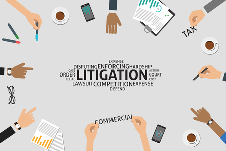 defend: vector litigation concept,template