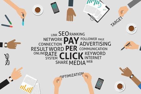 keywords link: vector pay per click concept,template Illustration