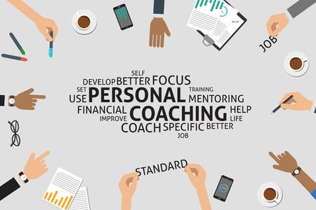Wektor osobisty koncepcja coaching, szablon