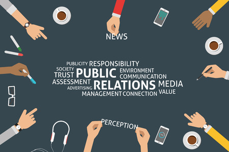 media advertising: vector public relations concept,template
