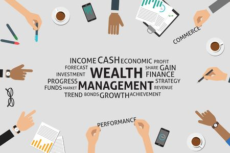 wealth management: vector wealth management concept,template Illustration