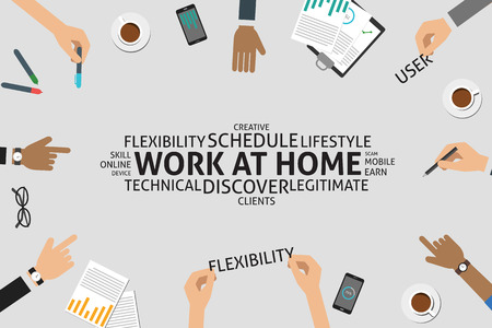 flexible business: vector work at home concept,template