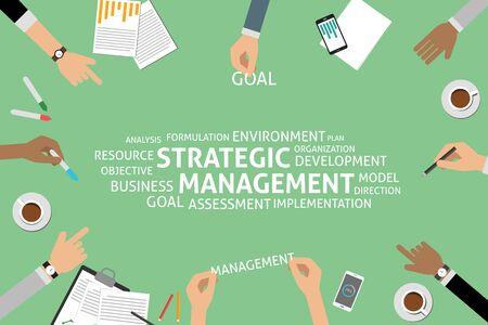 strategic management: vector strategic management concept,template