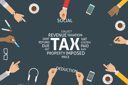 deduction: vector tax concept,template Illustration