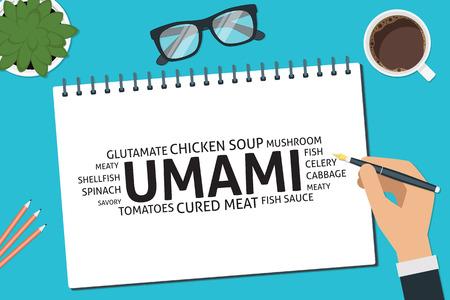 mushroom soup: vector umami concept,template