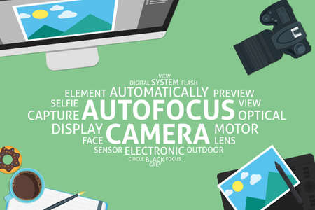 preview: vector autofocus camera concept,template