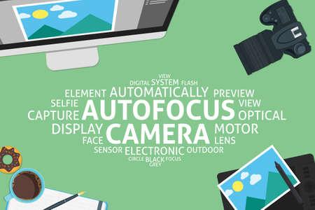 vettore concetto di fotocamera autofocus, modello