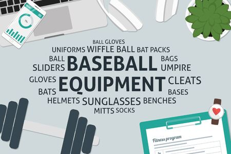 cleats: vector baseball equipment concept,template