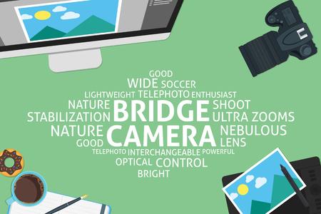 telephoto: vector bridge camera concept,template
