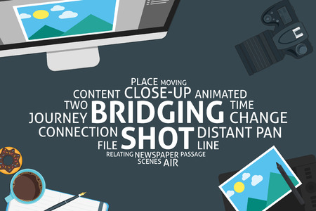 top animated: vector bridging shot concept,template