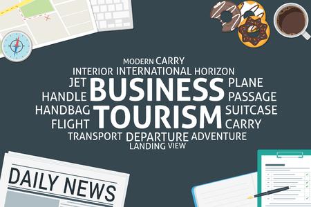vectorial concepto de turismo de negocios, plantilla Ilustración de vector