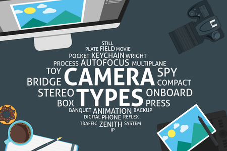 plate camera: vector camera types concept,template