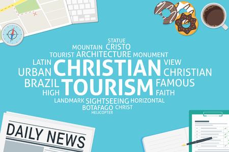 cristo: vector christian tourism concept,template