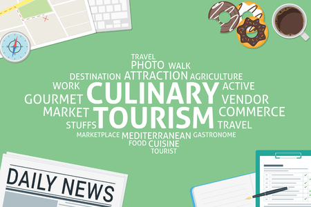 culinary tourism: vector culinary tourism concept,template