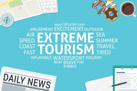 ベクトル極端な観光概念、テンプレート  イラスト・ベクター素材